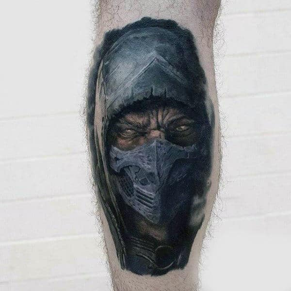 Guys Video Game Tattoos Of Subzero Mortal Kombat On Leg Calf
