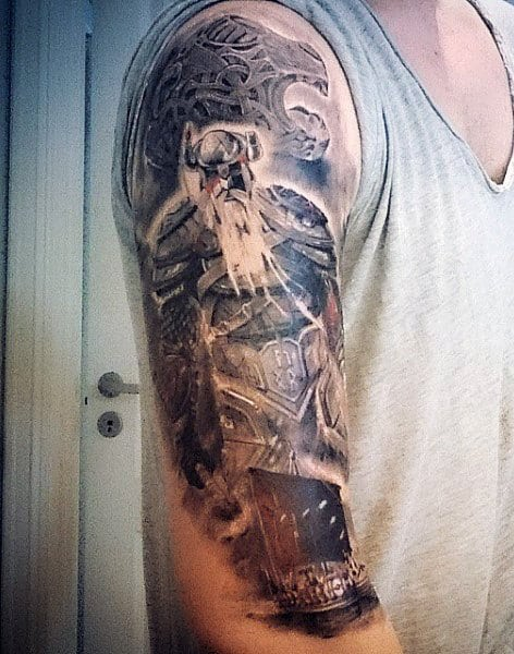 Guy's Viking Ship Tattoo Designs Sleeve