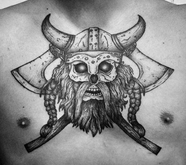 Guys Viking Upper Chest Axe Tattoo Designs