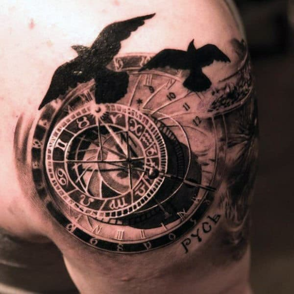 Guy's Vintage Compass Tattoos