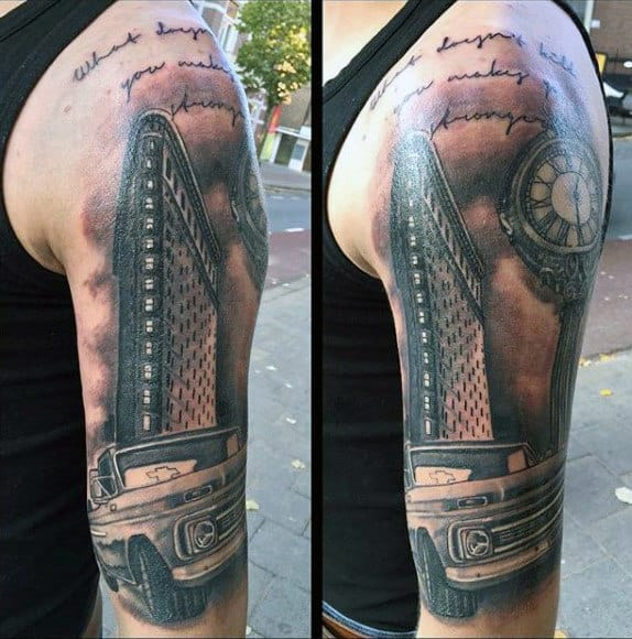 Guys Vintage Truck Shaded Black And Grey Ink Tattoo