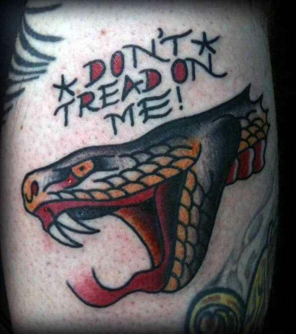 Guys Viper Head And Dont Tread On Me Text Calf Tattoo