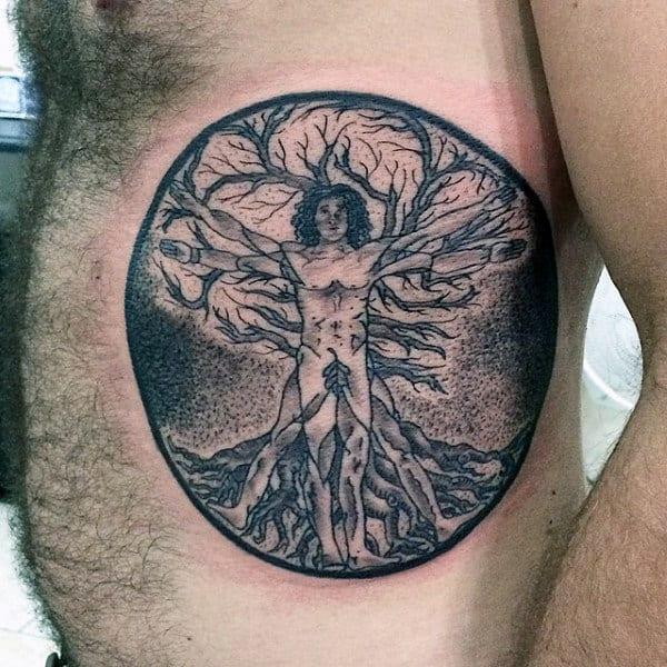 Guys Vitruvian Man Tree Of Life Dotwork Rib Cage Side Tattoos