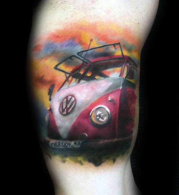 Guys Volkswagen Wv Tattoo Design Ideas