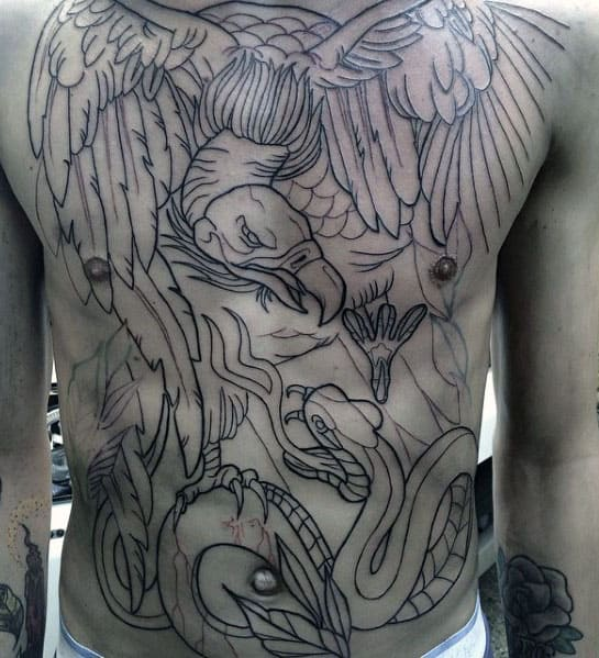 Guys Vulture Fighting Snake Full Chest Tattoo With Black Ink Outline Design