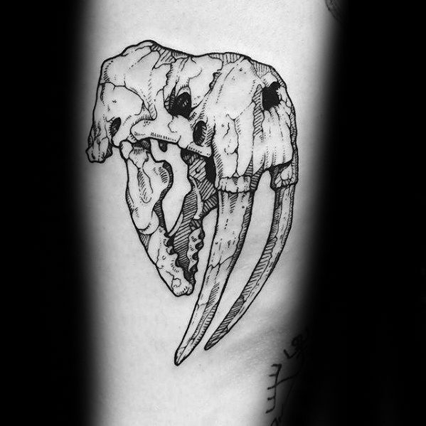 Guys Walrus Skull Thigh Tattoo Design Ideas