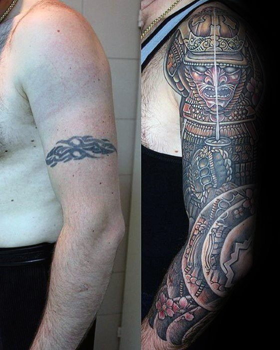 Guys Warrior Samuari Tattoo Cover Up Sleeve Designs