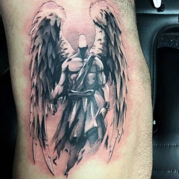 Guys Warrior With Huge Feathers Tattoo Side Ribs