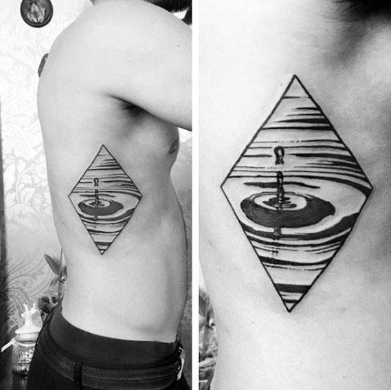 Guys Water Drop Tattoos On Rib Cage Side Of Body