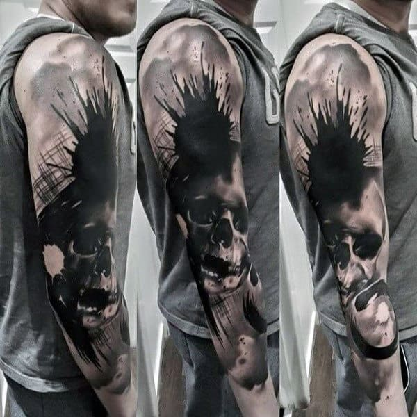 Guys Watercolor Badass Skull Tattoos Abstract Sleeve Ieas