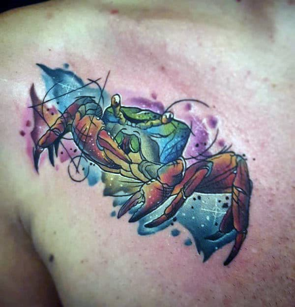 Guys Watercolor Colorful Crab Upper Chest Tattoos