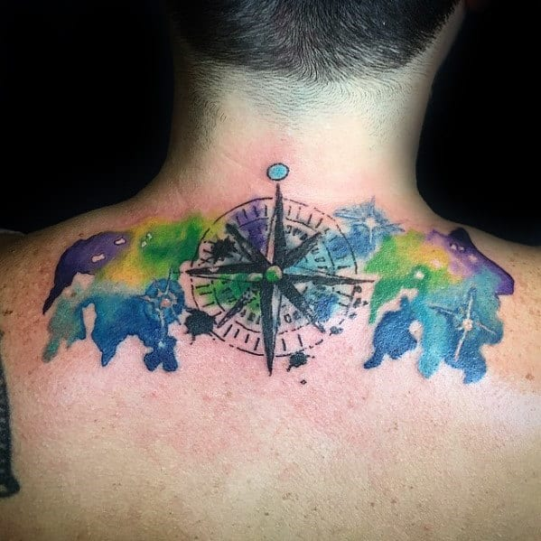 Guys Watercolor Compass Upper Back Tattoo