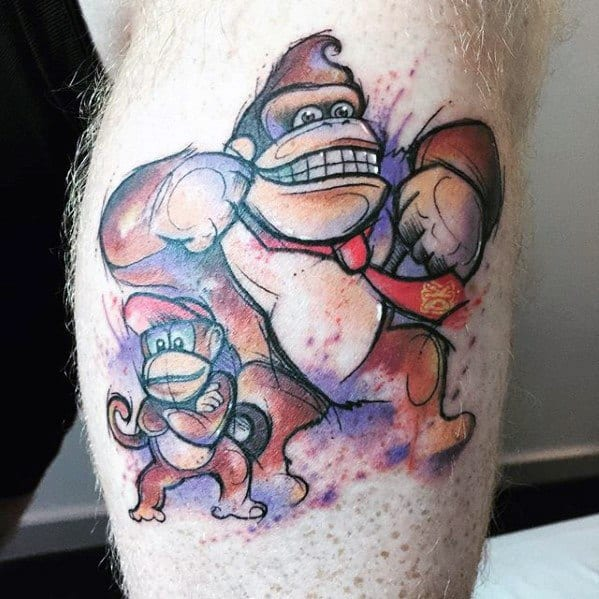 Guys Watercolor Leg Donkey Kong Video Game Tattoo Deisgns