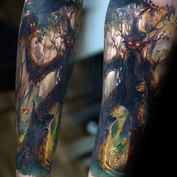 Guys Watercolor Lord Of The Rings Forearm Sleeve Tattoo Designs