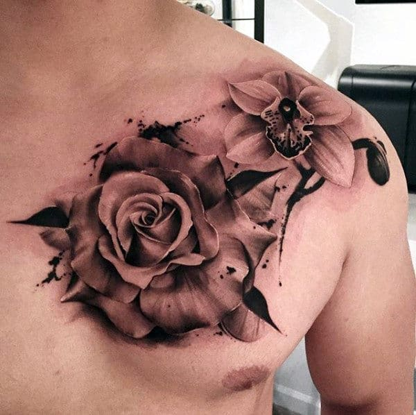 Guys Watercolor Orchid Upper Chest Tattoo