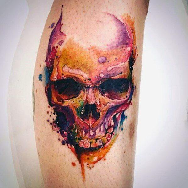 Guys Watercolor Skull Tattoo Design Ideas On Leg Calf