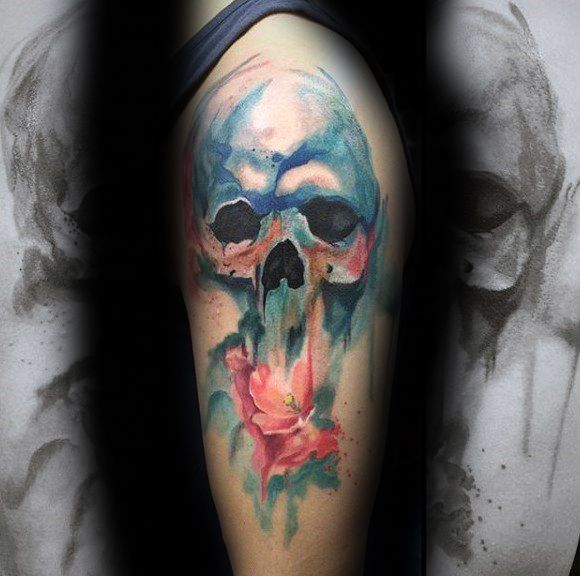 Guys Watercolor Skull Tattoos On Arm