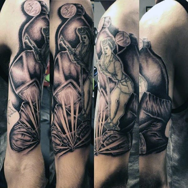 Guys Welding Black And Grey Shaded Tattoo Deson On Arm