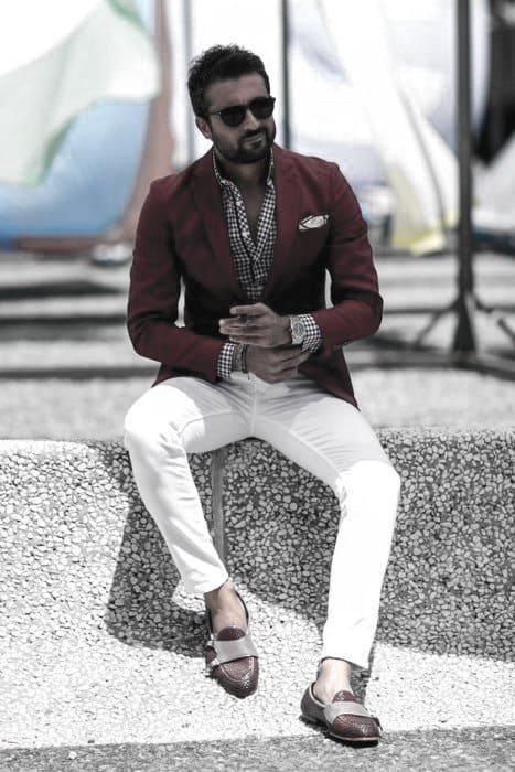 Guys What To Wear With White Jeans Red Blazer Pattern Dress Shirt Outfits Fashion Ideas