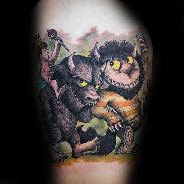 Guys Where The Wild Things Are Monsters Thigh Tattoo