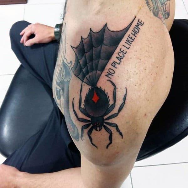 Guys Widow Spider Tattoo On Shoulder