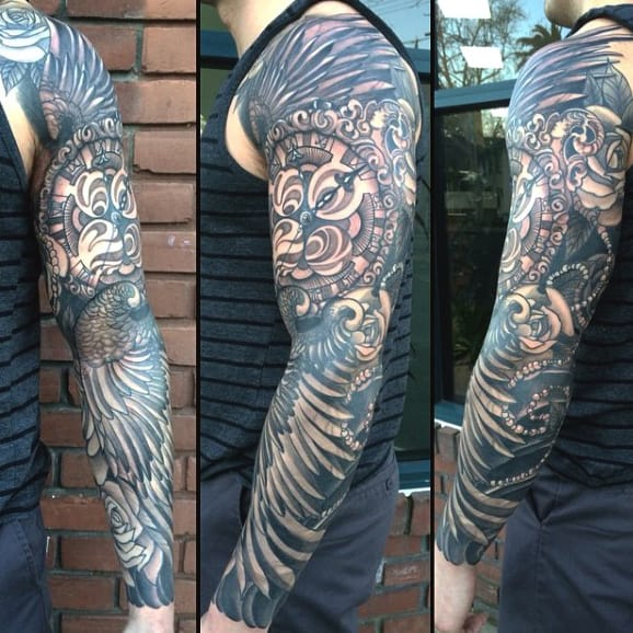 Guys Wing Sleeve Tattoo With Clock