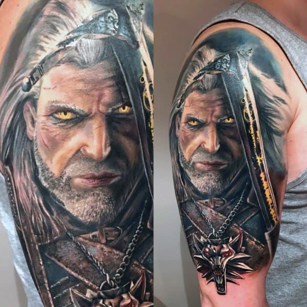 30 Geralt Tattoo Designs For Men – Witcher Ink Ideas