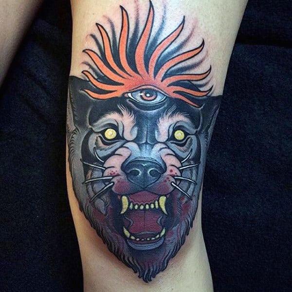 Guys Wolf All Seeing Eye Knee Tattoos