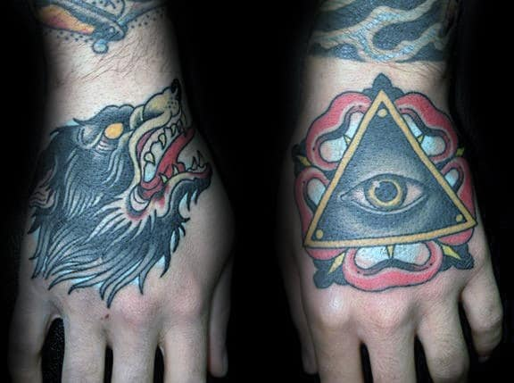 Guys Wolf And All Seeing Eye Traditional Hand Tattoo Ideas