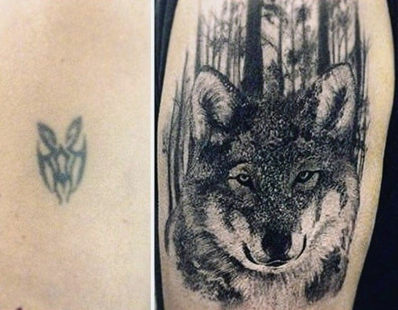 Guys Wolf In Forest Tattoo Cover Up Ideas On Arm