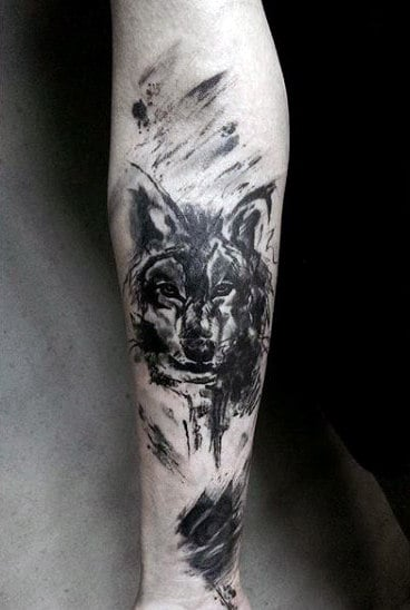 Guy's Wolf Skull Tattoo