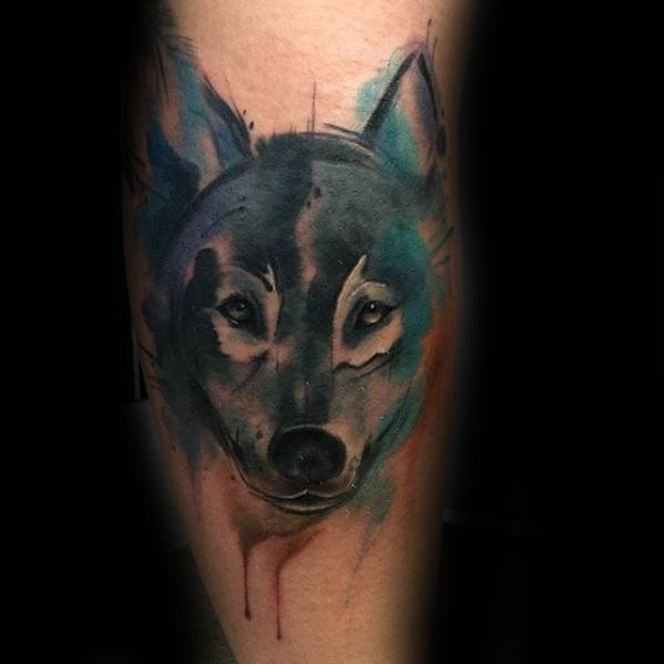 Guys Wolf Watercolor Tattoo Design Ideas