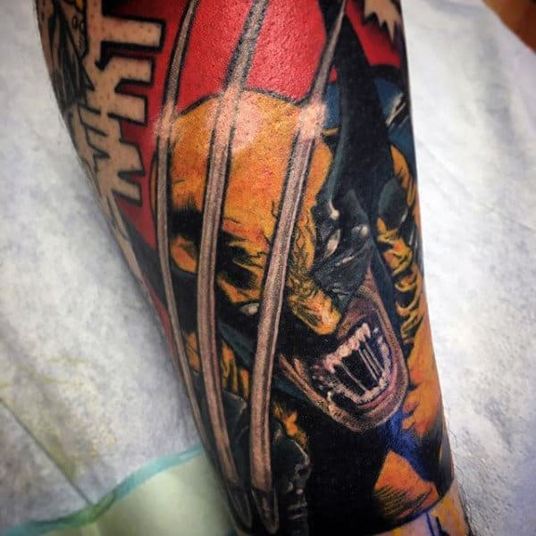 Guys Wolverine Sleeve Tattoo Inspiration