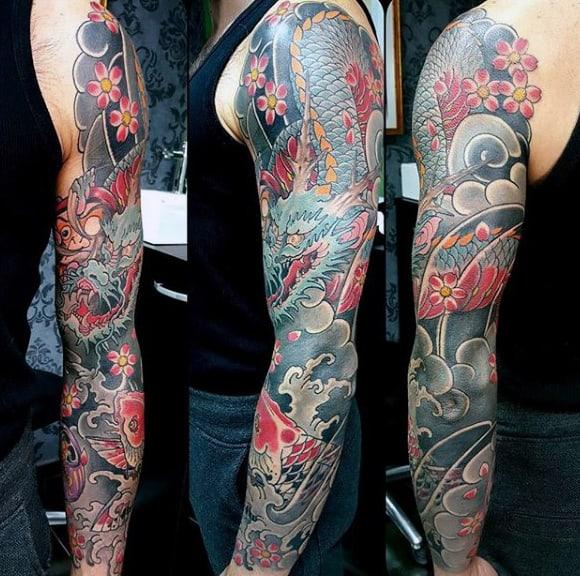 Guys Wonderful Japanese Sleeve Tattoo
