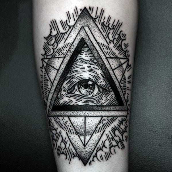 Guys Woodcut Eye Of Providence Forearm Tattoo