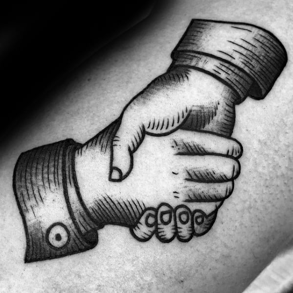 Guys Woodcut Small Arm Tattoo Ideas Handshake Designs