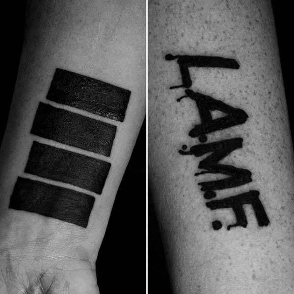 Guys Wrist Black Flag Tattoo Design Ideas