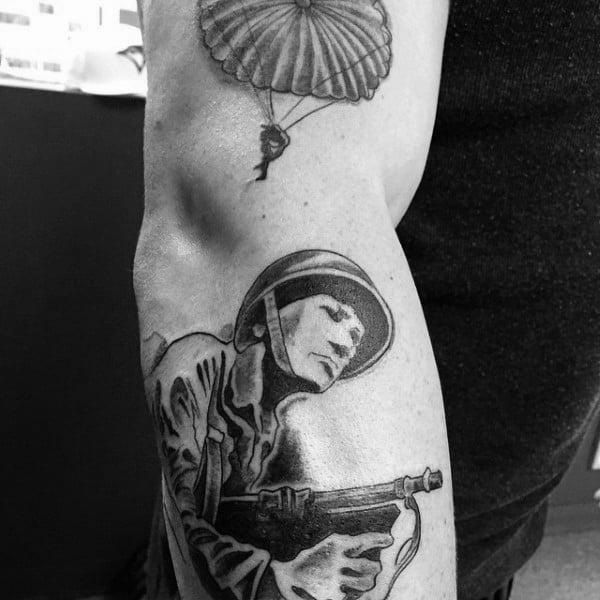 Guys Ww2 Solider And Parachute Tattoo On Arm