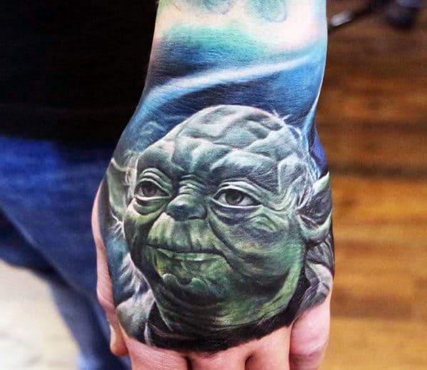 Guys Yoda Hand Tattoos