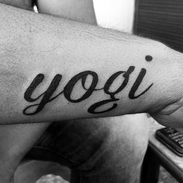 Guys Yogi Black Ink Letters Outer Forearm Name Tattoo