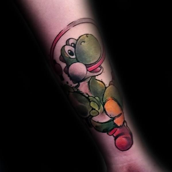 Guys Yoshi Tattoo Design Ideas On Inner Forearm