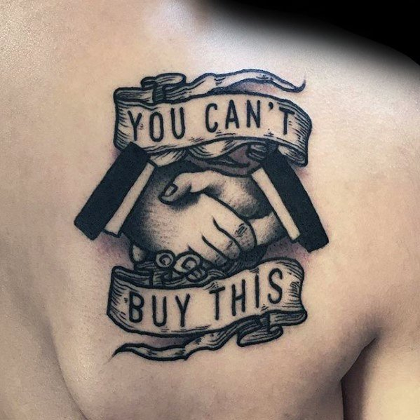Guys You Cant Buy This Banner Handshake Tattoo On Back Of Shoulder Blade
