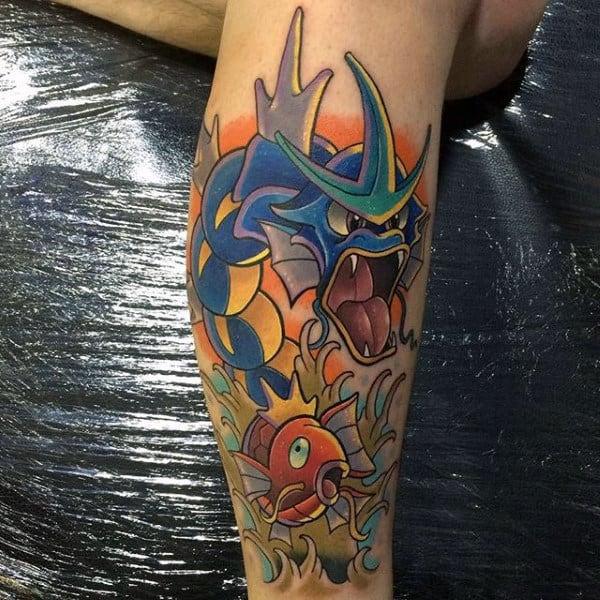 Gyarados Guys Pokemon Leg Tattoos