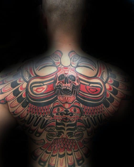 Hadia Unique Back Black And Red Ink Tattoo On Gentleman