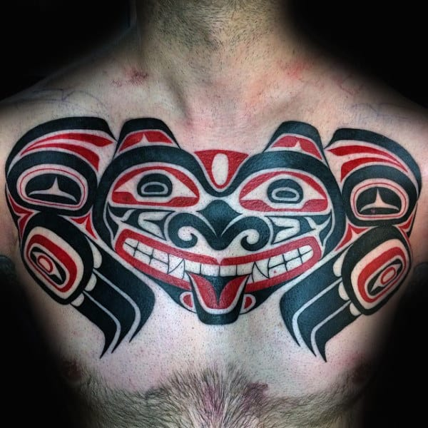 Haida Devil Tattoo Guys Chest