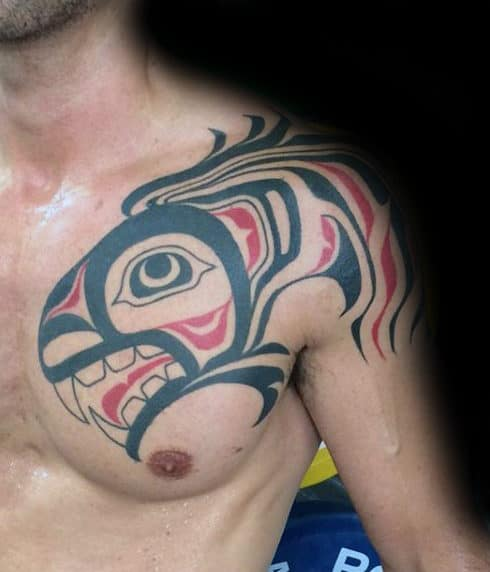 Haida Male Red And Black Ink Tribal Shoulder Tattoos