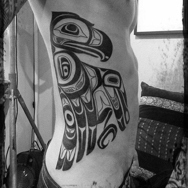 Haida Mens Bird Tribal Rib Cage Tattoo