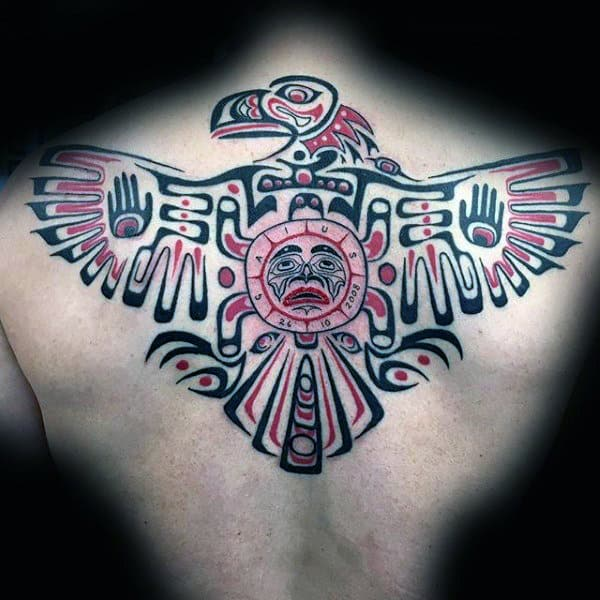 Haida Tribal Eagle Guys Back Tattoos