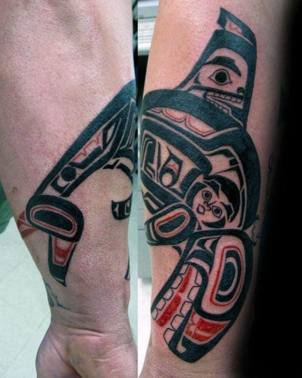 Haida Tribal Whale Outer Forearm Tattoo