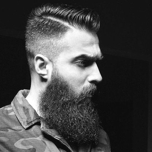 Hairstyle For Guys Fade And Comb Over With Beard